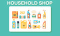 Household shop cleaning icon set Royalty Free Stock Photo