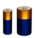 Household small batteries power packs isolated over white one aa size both Royalty Free Stock Images