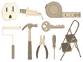 Household tools common and objects Stock Images
