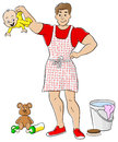 Househusband is busy doing housework