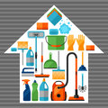 Housekeeping background with cleaning icons. Image can be used on advertising booklets
