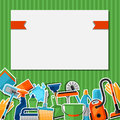 Housekeeping background with cleaning sticker icons. Image can be used on advertising booklets, banners, flayers