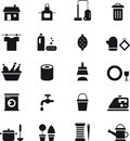 Housekeeping icons black and white glyph flat relating to cleaning and Royalty Free Stock Photos