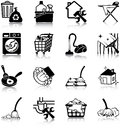 Housekeeping icons related vector silhouettes Stock Images