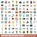 100 housekeeping icons set, flat style