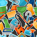 Housekeeping lifestyle seamless pattern with cleaning sticker icons. Background for backdrop to site, textile printing Royalty Free Stock Photo