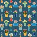Houseplants in flowerpots seamless pattern.