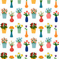 Houseplants and flowers in pots seamless pattern.