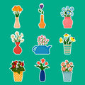 Houseplants and flowers in vases stickers.