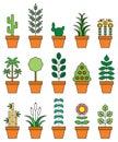 Houseplants icon set