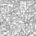 Vector seamless pattern with stylized houses in black and white