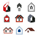 Houses abstract icons, for use in advertising and as branding in Royalty Free Stock Photo