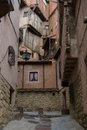 Houses from albarracin spain and a small street in Royalty Free Stock Image