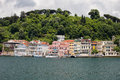 Houses along the bosphorus strait traditional in turkey Royalty Free Stock Photography