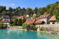 Houses along the river aare in bern switzerland Royalty Free Stock Images