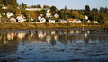 Houses along youngs bay newhalem hwy astoria oregon old pilings fill the in Stock Photos