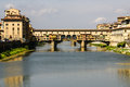 Houses arno river and ponte vecchio bridge of florence tuscany italy Stock Photography