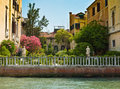 Houses and beautiful outdoor on the shore channel island of burano venice italy Royalty Free Stock Photo
