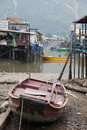 Houses and boats of Tai O Village. Hong Kong. Royalty Free Stock Photo