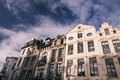 Houses in Brussels, street with traditional architecture Royalty Free Stock Photo