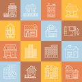 Houses and buildings lineart minimal vector iconset on multicolor checkered texture Royalty Free Stock Photo