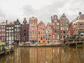 Houses on the canal in amsterdam netherlands february Stock Photo