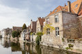 Houses at a canal in bruges line of water west flanders the flemish region of belgium Royalty Free Stock Photography