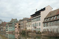 Houses canal embankment petite france strasbourg france Stock Photo
