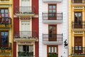Houses by the central market valencia colorful balconies in spain Stock Image