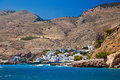 Houses of chora sfakion small port town in south crete greece Stock Images