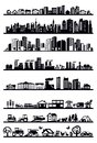 Houses and city icons vector black set on white Stock Photo
