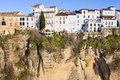 Houses on a Cliff in Ronda Town Stock Photography