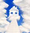 Houses in clouds Royalty Free Stock Photos