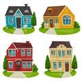Houses cottage set, vector cartoon illustration, exterior design