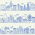Houses doodles seamless pattern on school squared paper Stock Photography