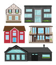 Houses in flat style isolated set. Modern apartments, country houses, tourist homes for booking, living and sale.