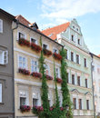 Houses with flowers prague czech republic europe in eastern european union Royalty Free Stock Images