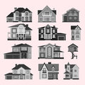 Houses front view vector illustration building architecture home construction estate residential property roof set Royalty Free Stock Photo