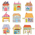 Houses of the funny town set companies and offices illustration Royalty Free Stock Photos