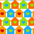 Houses with heart windows seamless background Stock Photography