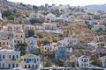 Houses on a hill in the island of symi greece view some village near rhodes Stock Images