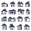 Houses icons set real estate Royalty Free Stock Images