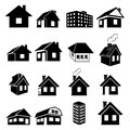 Houses icons set vector on white background Stock Photography