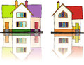 Houses illustration of two colorful Stock Image