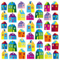 Houses, illustration, wallpaper, background, naive Stock Images
