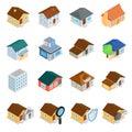 Houses isometric d icons set isolated on white background Royalty Free Stock Photo