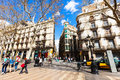 Houses at la rambla barcelona spain march in march in is street in central between el raval and barri Royalty Free Stock Photos