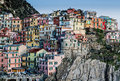 Houses of manarola colorful cinque terre liguria italy Royalty Free Stock Image