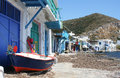 Houses in milos island traditional fishing klima village with a boat front Royalty Free Stock Photography