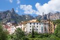 Houses near the mountains of montserrat spain big Royalty Free Stock Image